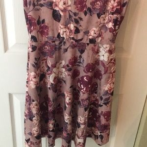 Francesca's Collections Dresses - Lilac fit and flare berry floral velvet mini dress
